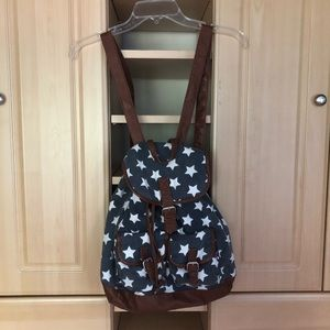 Handbags - Stars Faux Leather Navy Backpack